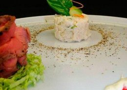 Roast beef with a rice terrine