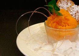 Pumpkin mousse with home-made waffle
