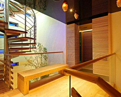 Spiral staircase - entrance area to infra-red cabin